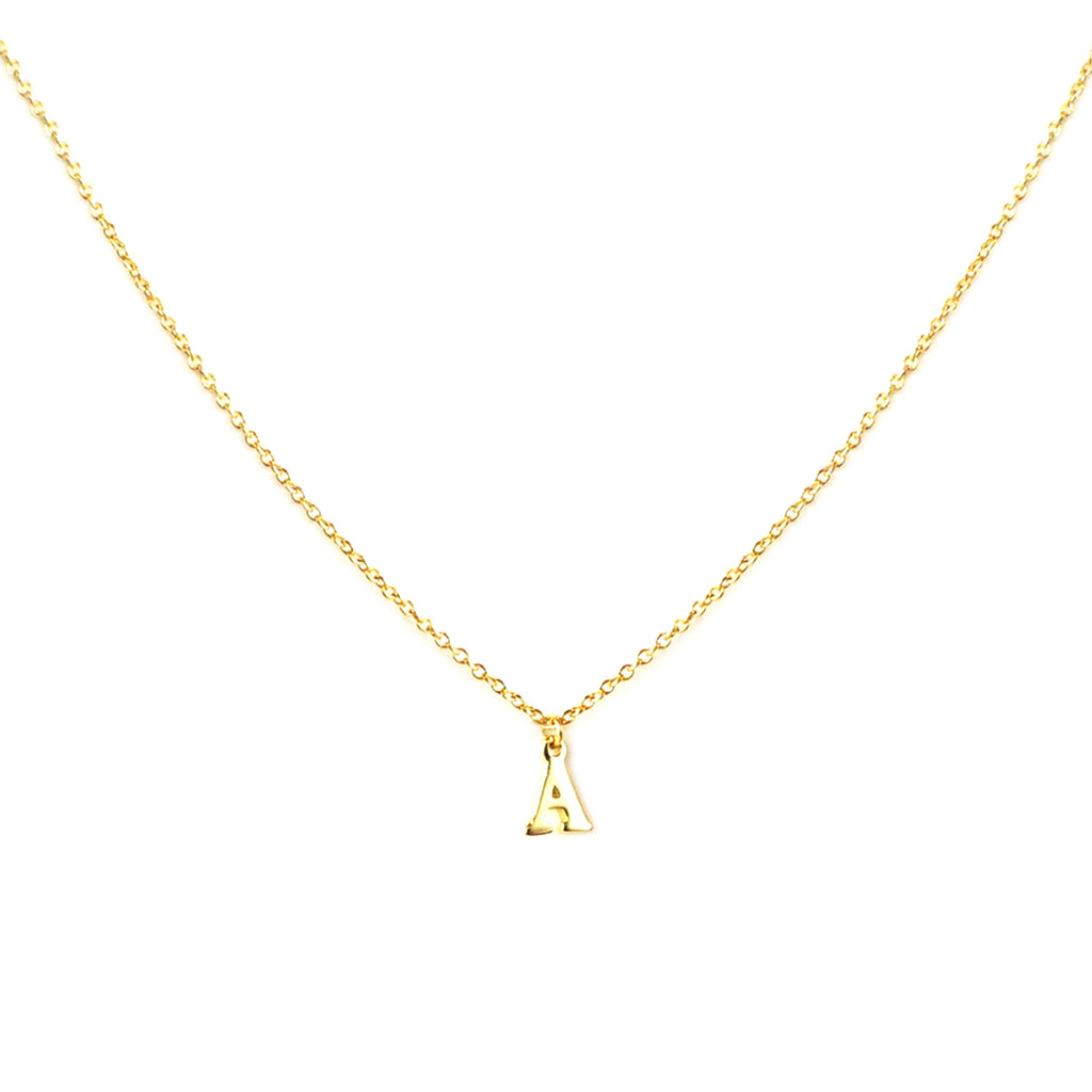 sterling gold block letter initial necklace