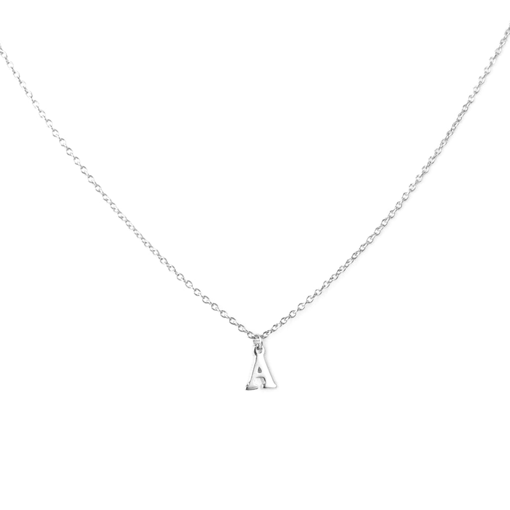 sterling silver block letter initial necklace