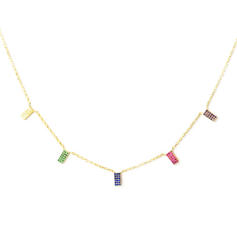 sterling rainbow rectangle necklace