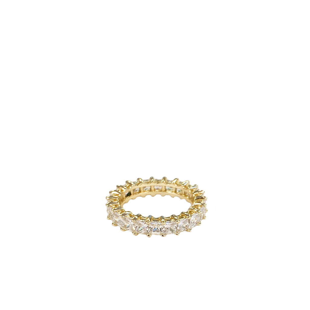 sterling square crystal ring