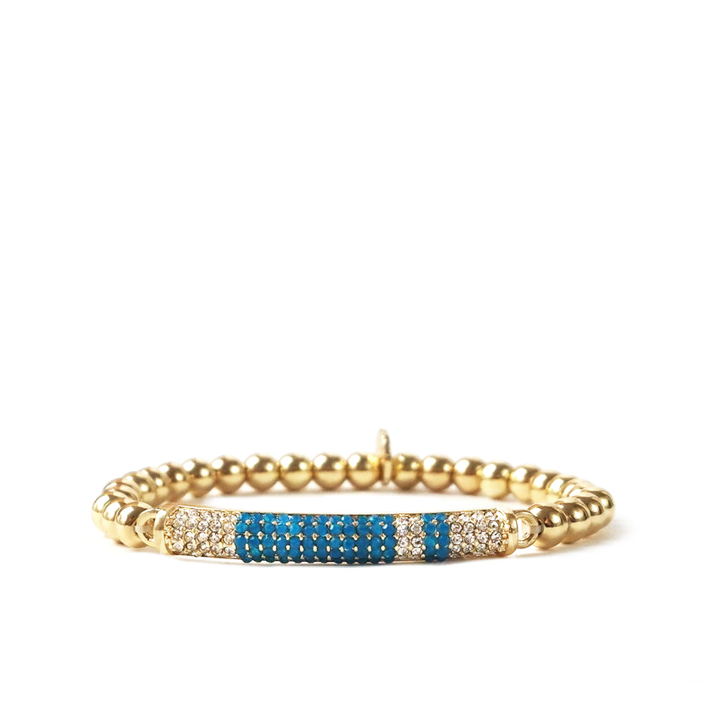 teal multi pave bar beaded bracelet
