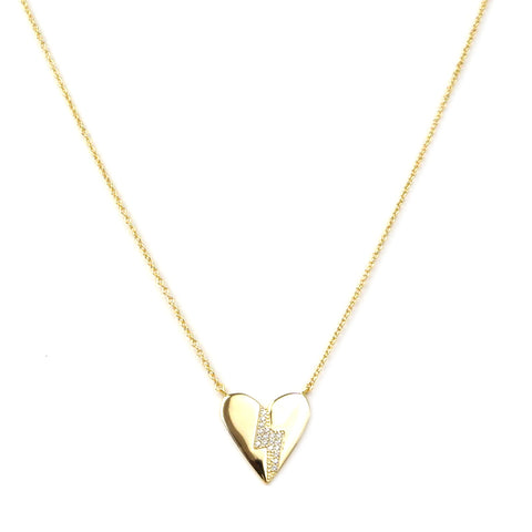 sterling heart necklace with cz lightning bolt
