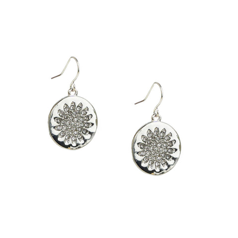 pave flower disc earring