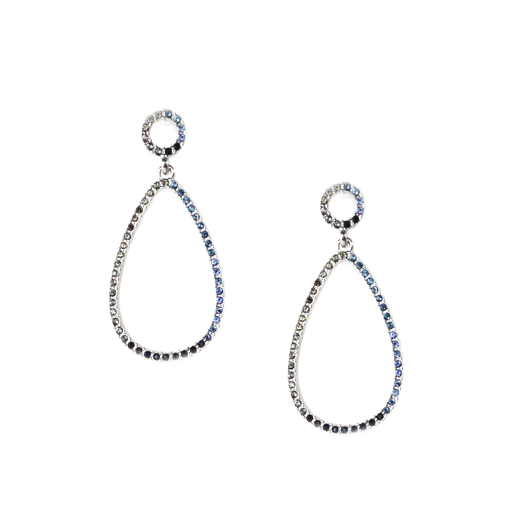 open teardrop pave earring