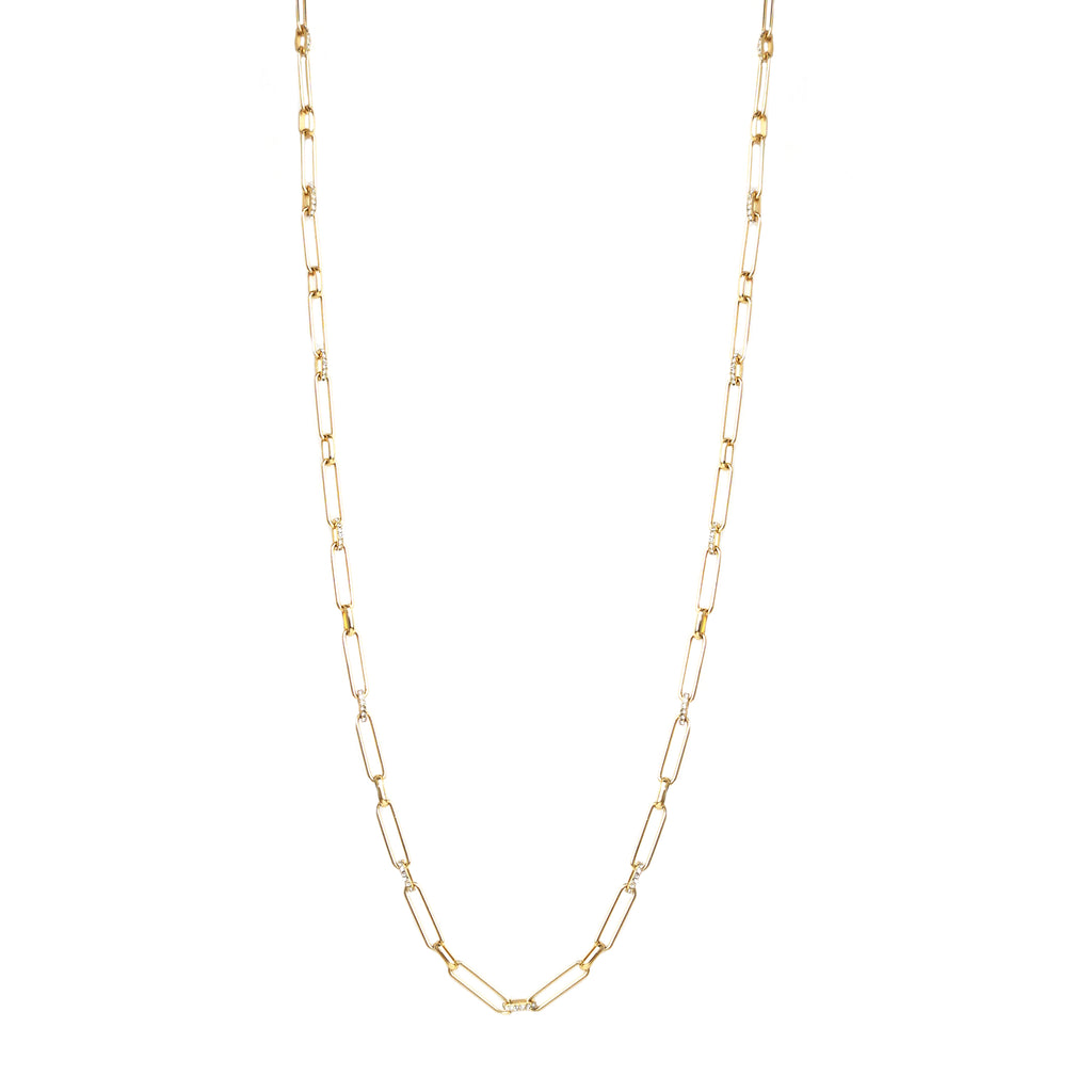 chain pave link toggle necklace