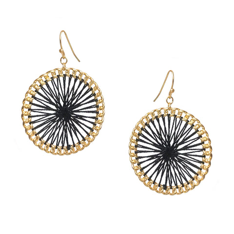 threaded chain link circle earring