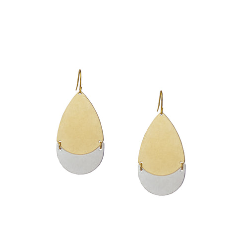 mixed metal teardrop earring