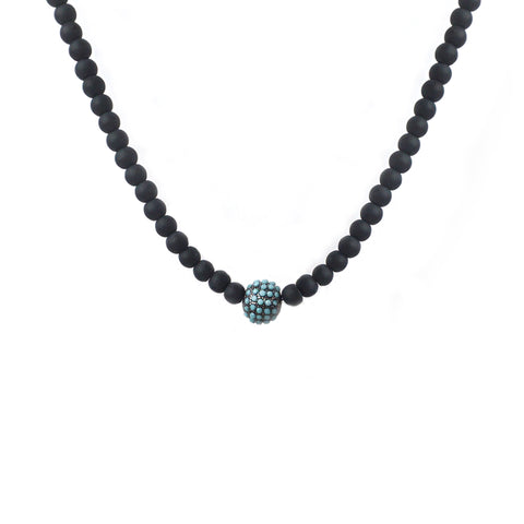 pave ball beaded necklace