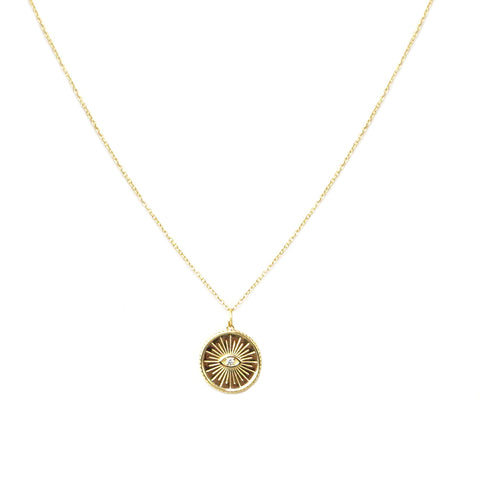 sterling evil eye burst disc necklace