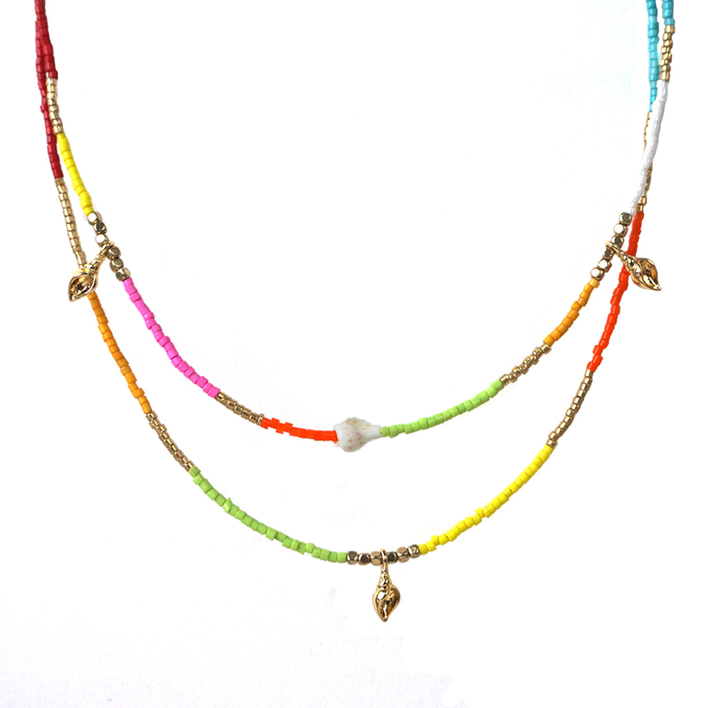seed bead double strand conch necklace