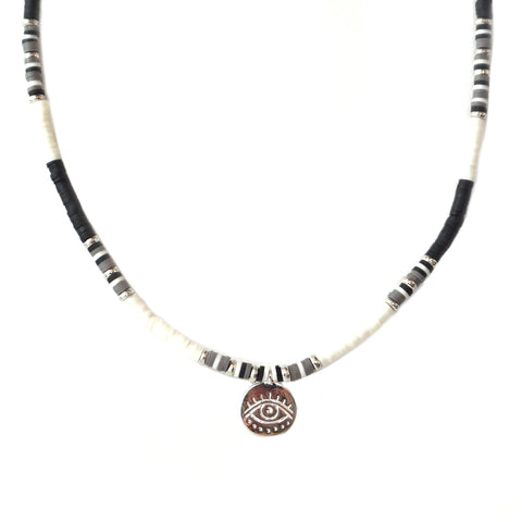heishi bead evil eye necklace