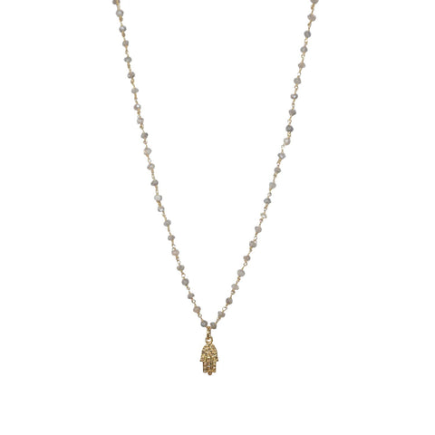 natural stone beaded diamond hamsa necklace