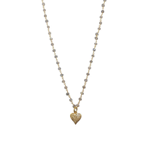 natural stone beaded diamond heart necklace