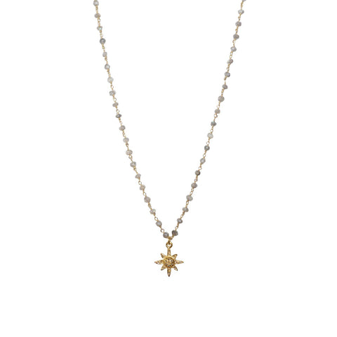 natural stone beaded diamond star necklace