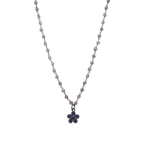 natural stone beaded diamond flower necklace