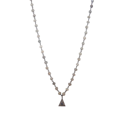 natural stone beaded diamond triangle necklace