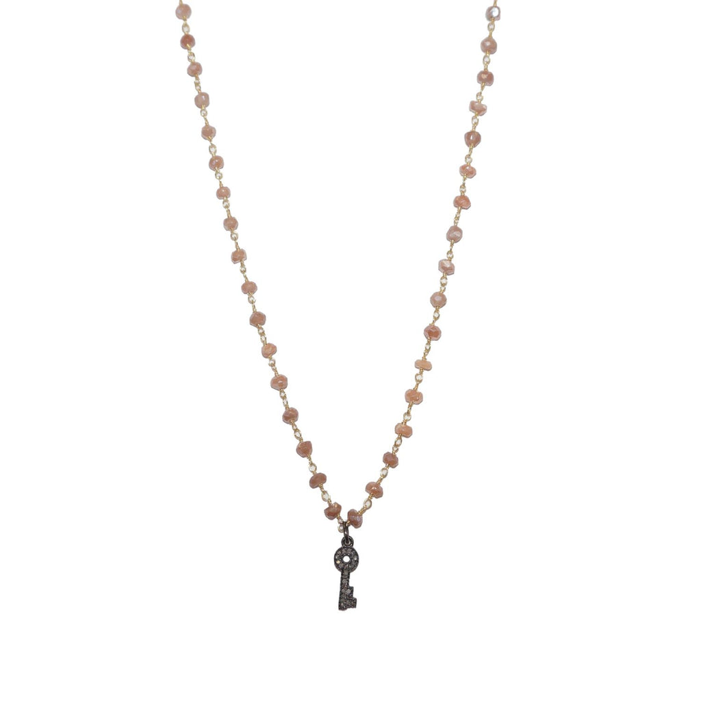 natural stone beaded diamond key necklace