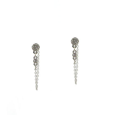 pave disc drape jacket earring