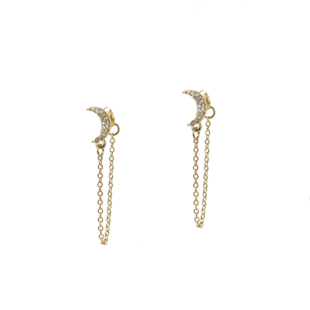 pave crescent drape jacket earring