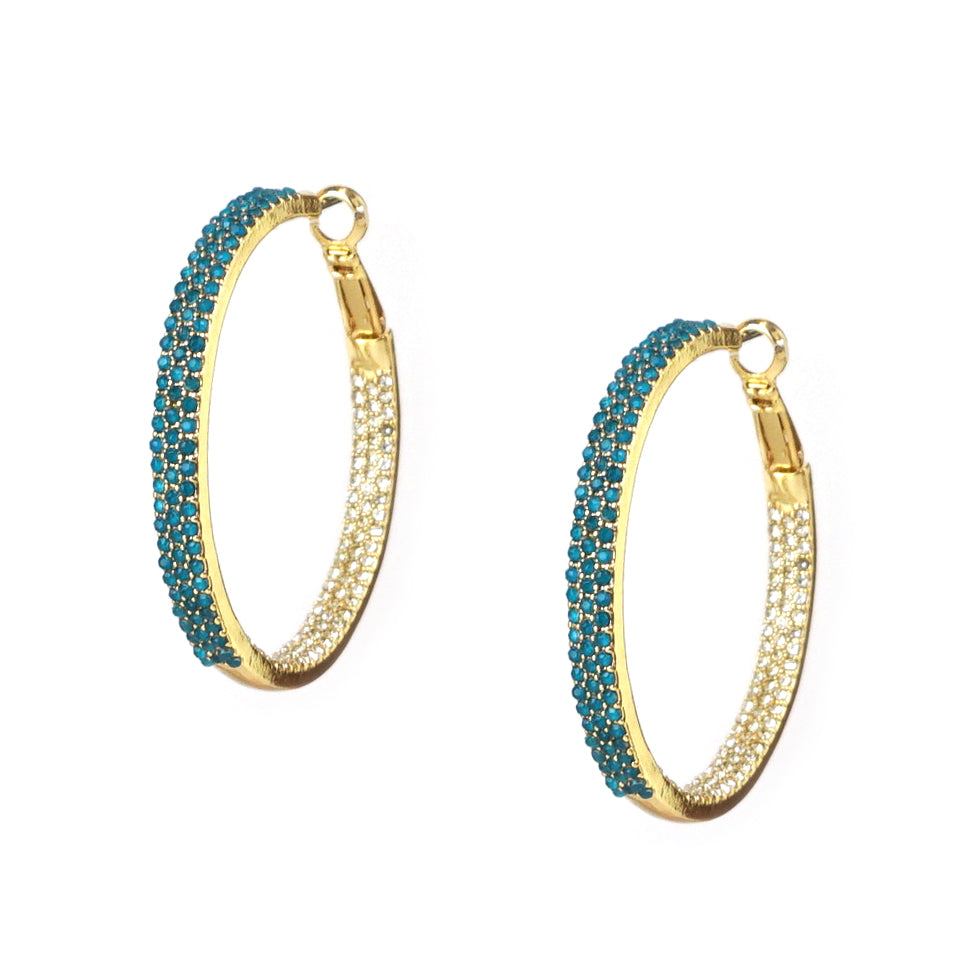 teal medium pave hoop