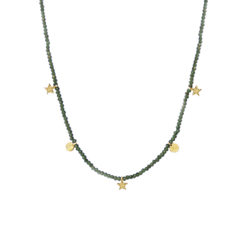 crystal beaded disc & star necklace