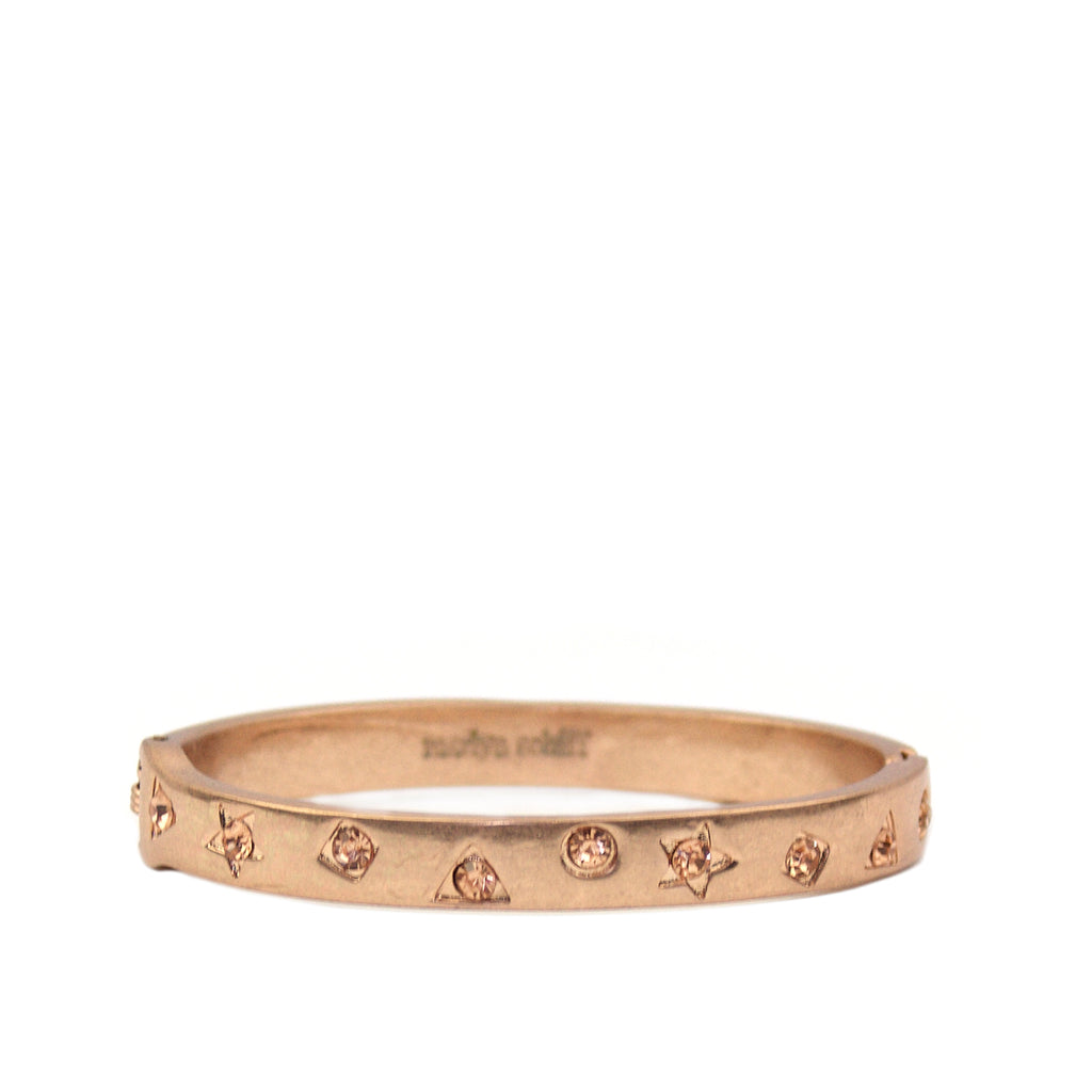 rose gold pave multi shape bangle