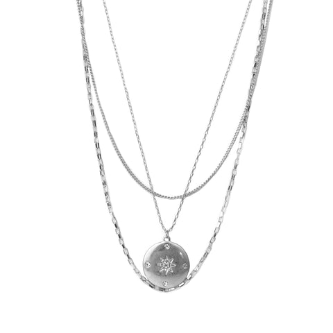 tri-strand pave starburst disc necklace