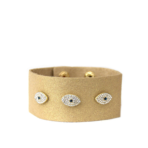 pave evil eye sparkle suede cuff