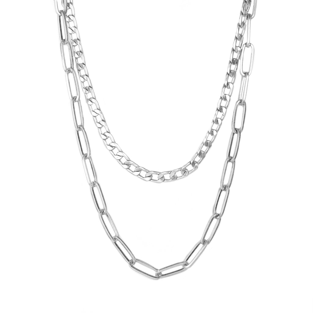 cuban link double mixed chain necklace