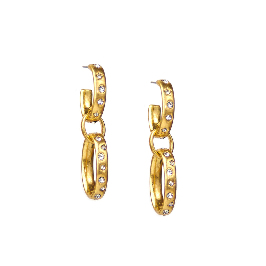 multi shape pave drop earring