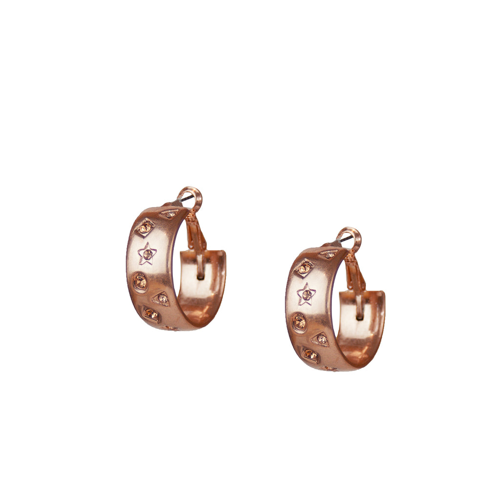 rose gold multi shape pave wide hoop