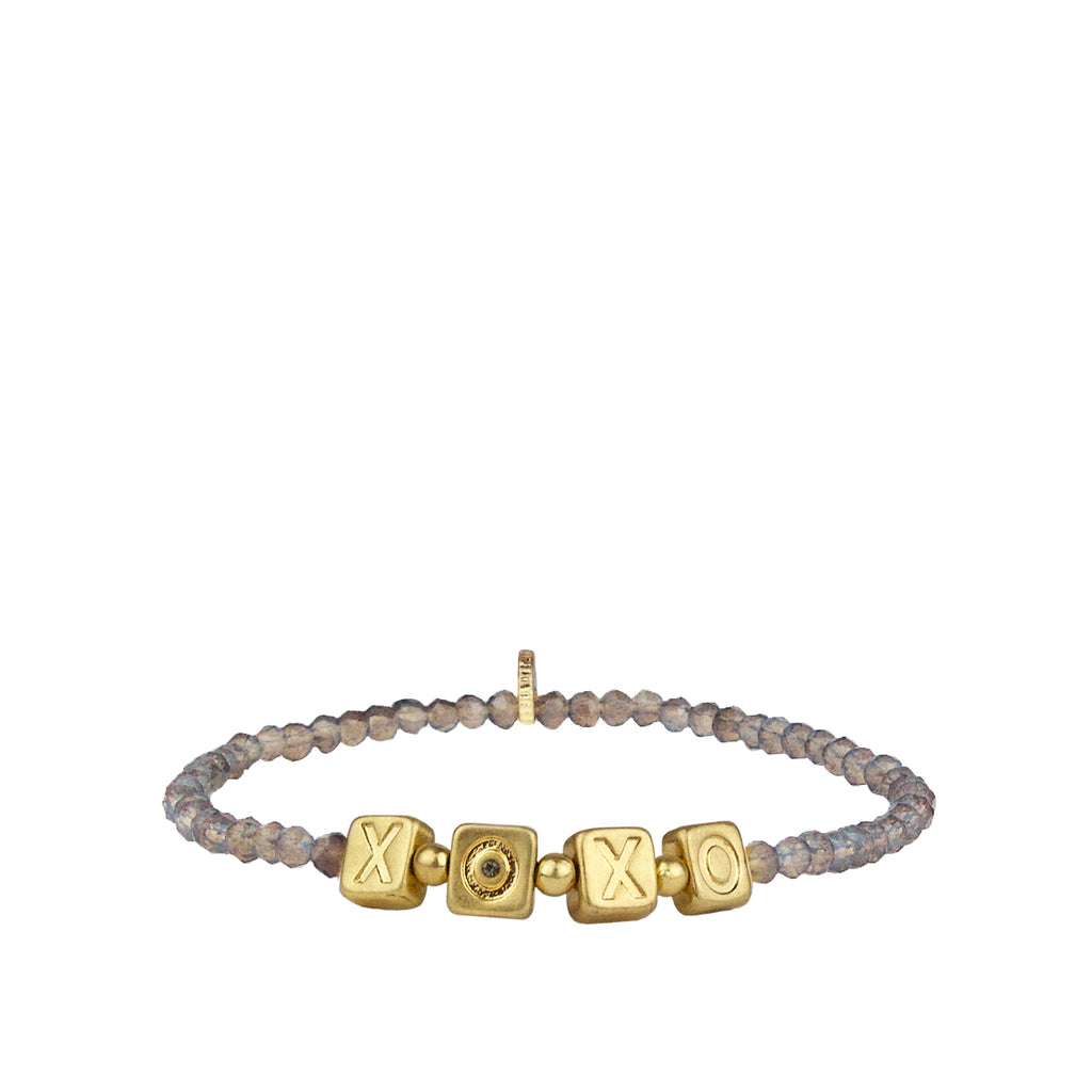 XOXO crystal beaded stretch bracelet