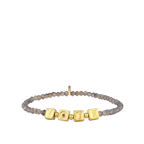 VOTE crystal beaded stretch bracelet