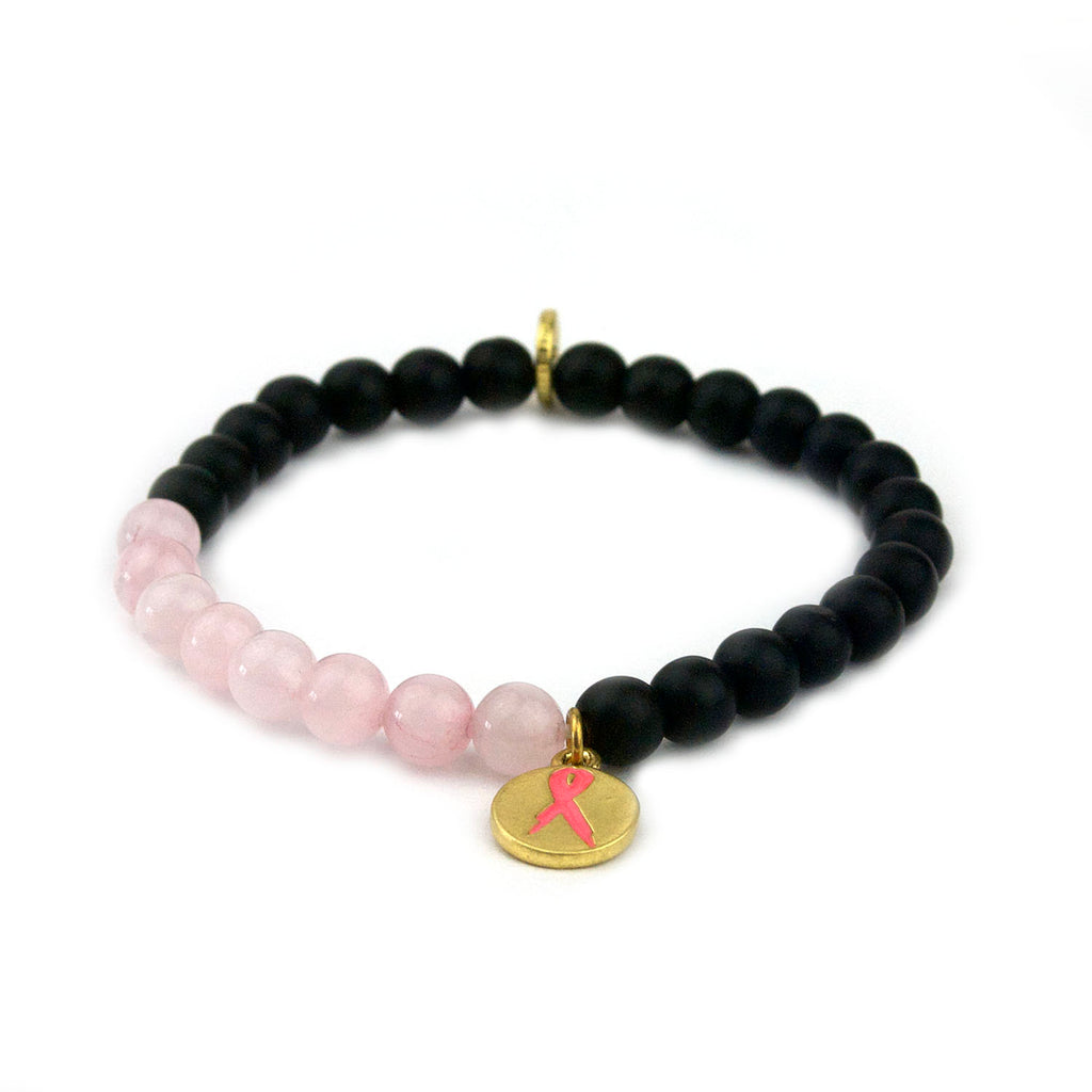 natural stone pink ribbon bracelet