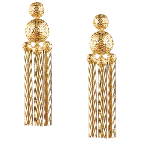 herringbone disc statement earring