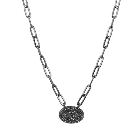 pave oval pendant necklace
