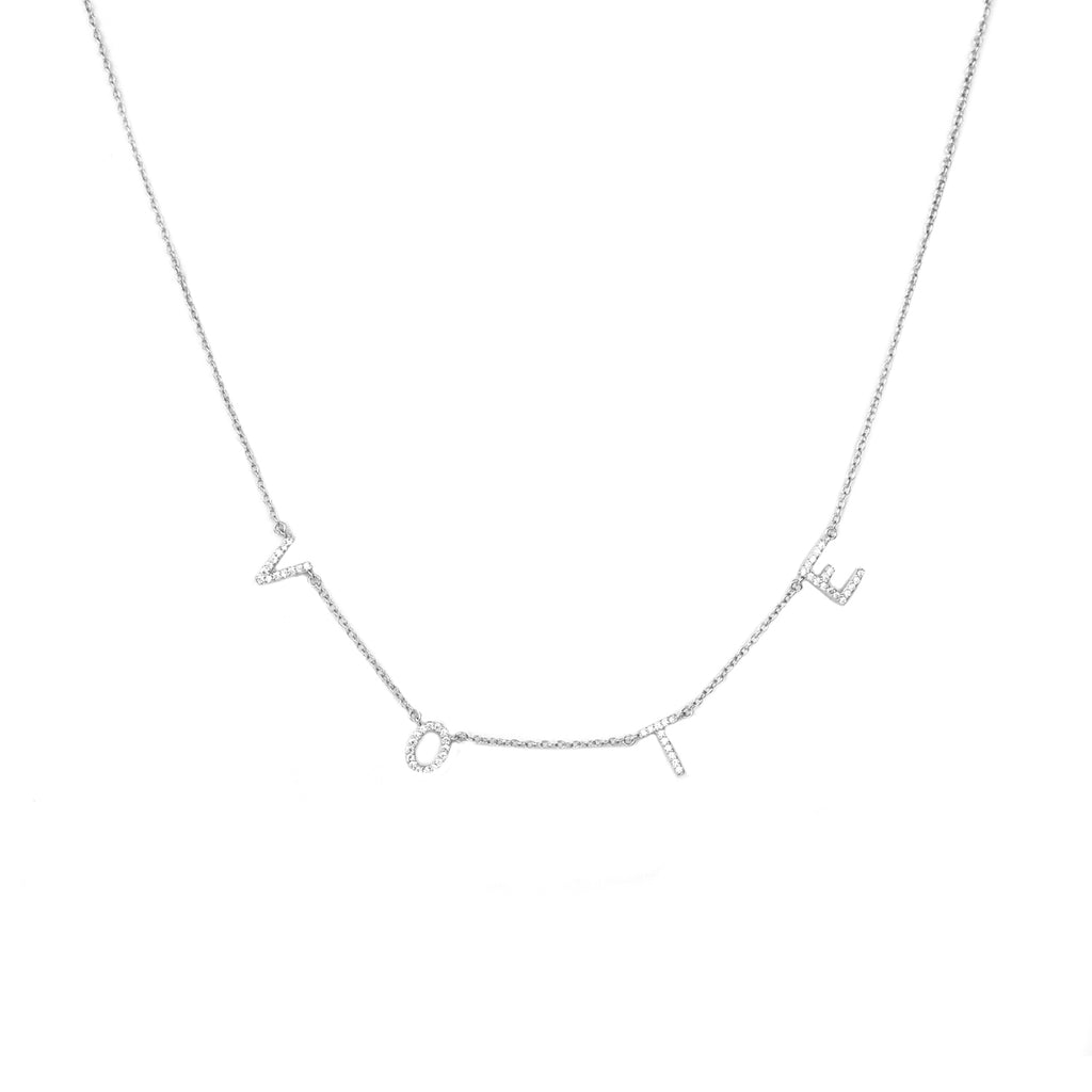 sterling cz stone VOTE necklace