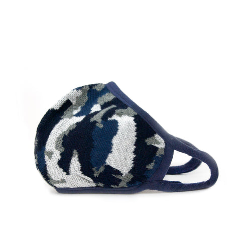 blue camo knit mask