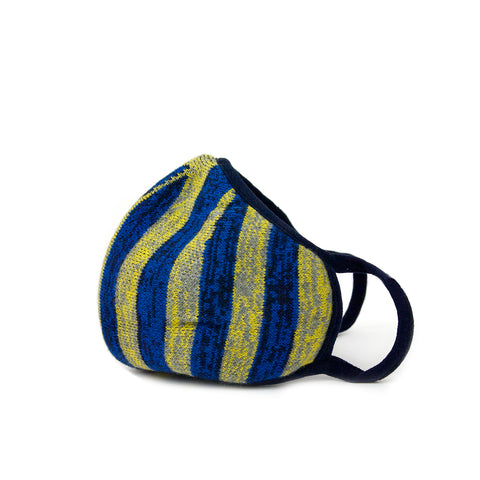 blue stripe knit mask