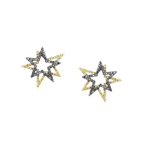 pave double star earring
