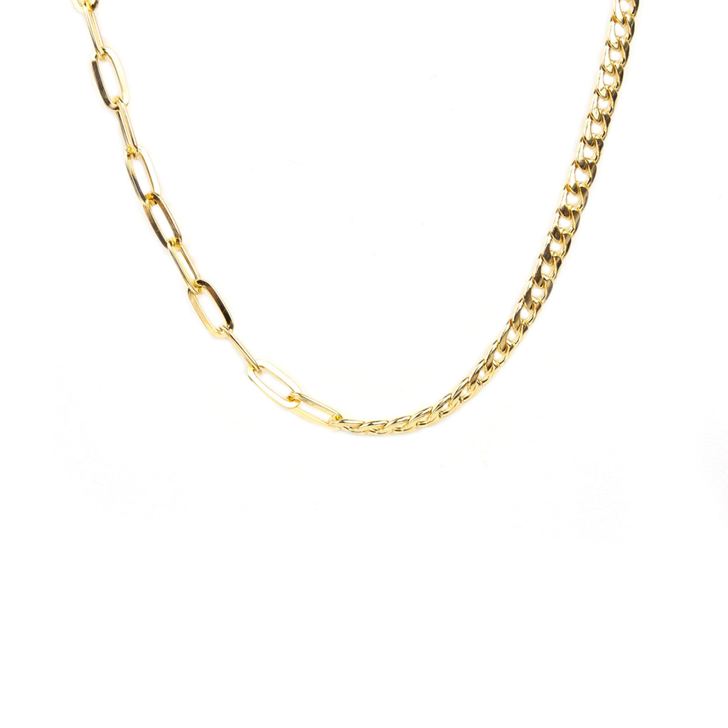 oval link & cuban chain choker necklace
