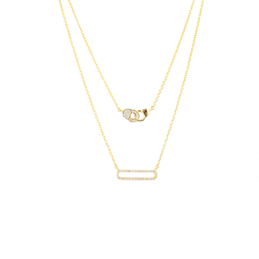 sterling double layer open bar/handcuff necklace