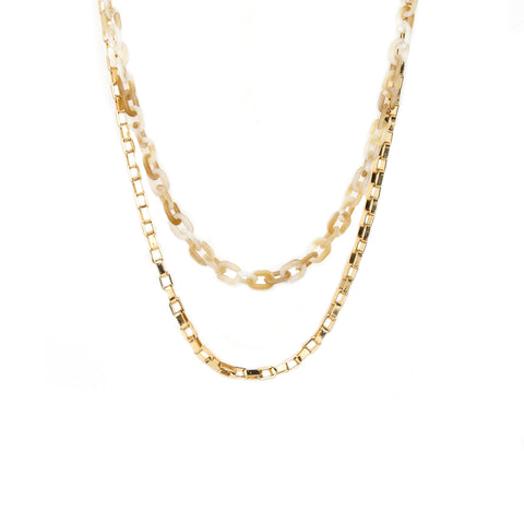 double layer box chain necklace
