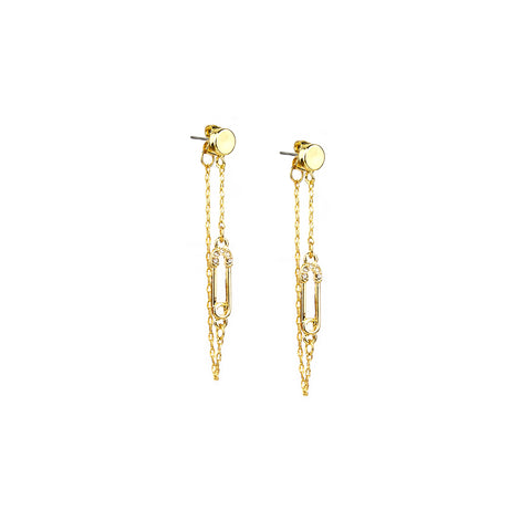 pave safety pin jacket earring