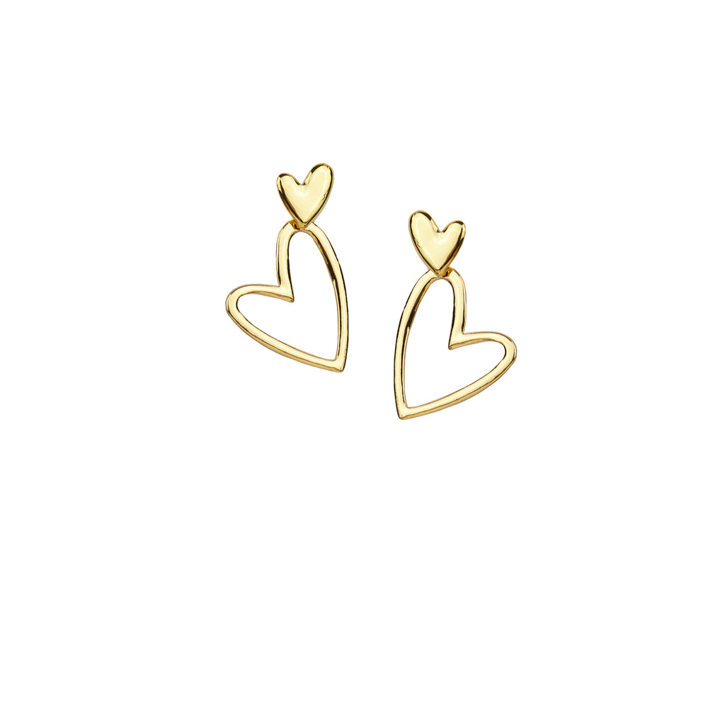 open heart drop earring