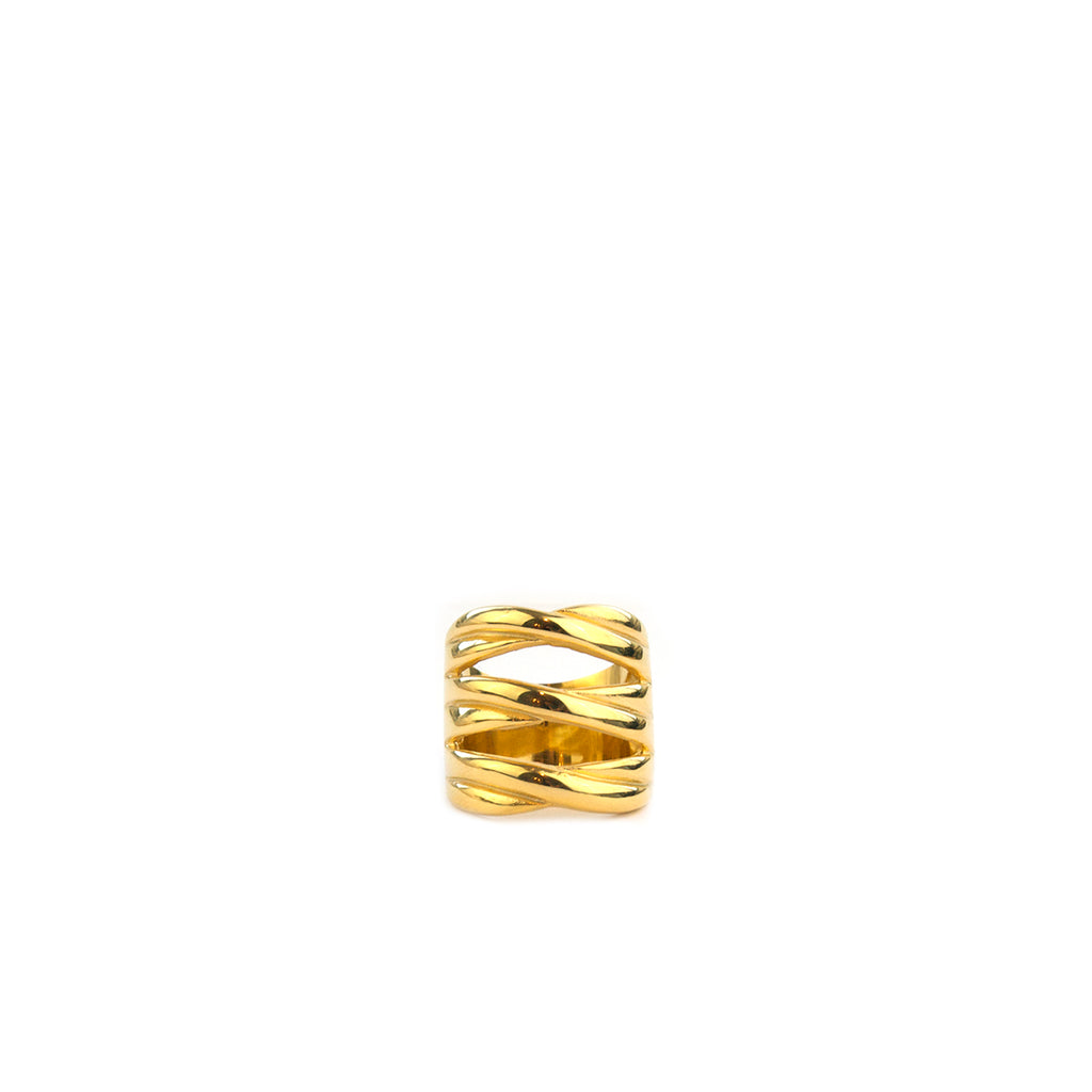 bold crisscross statement ring