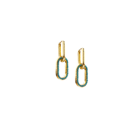 pave drop link earring