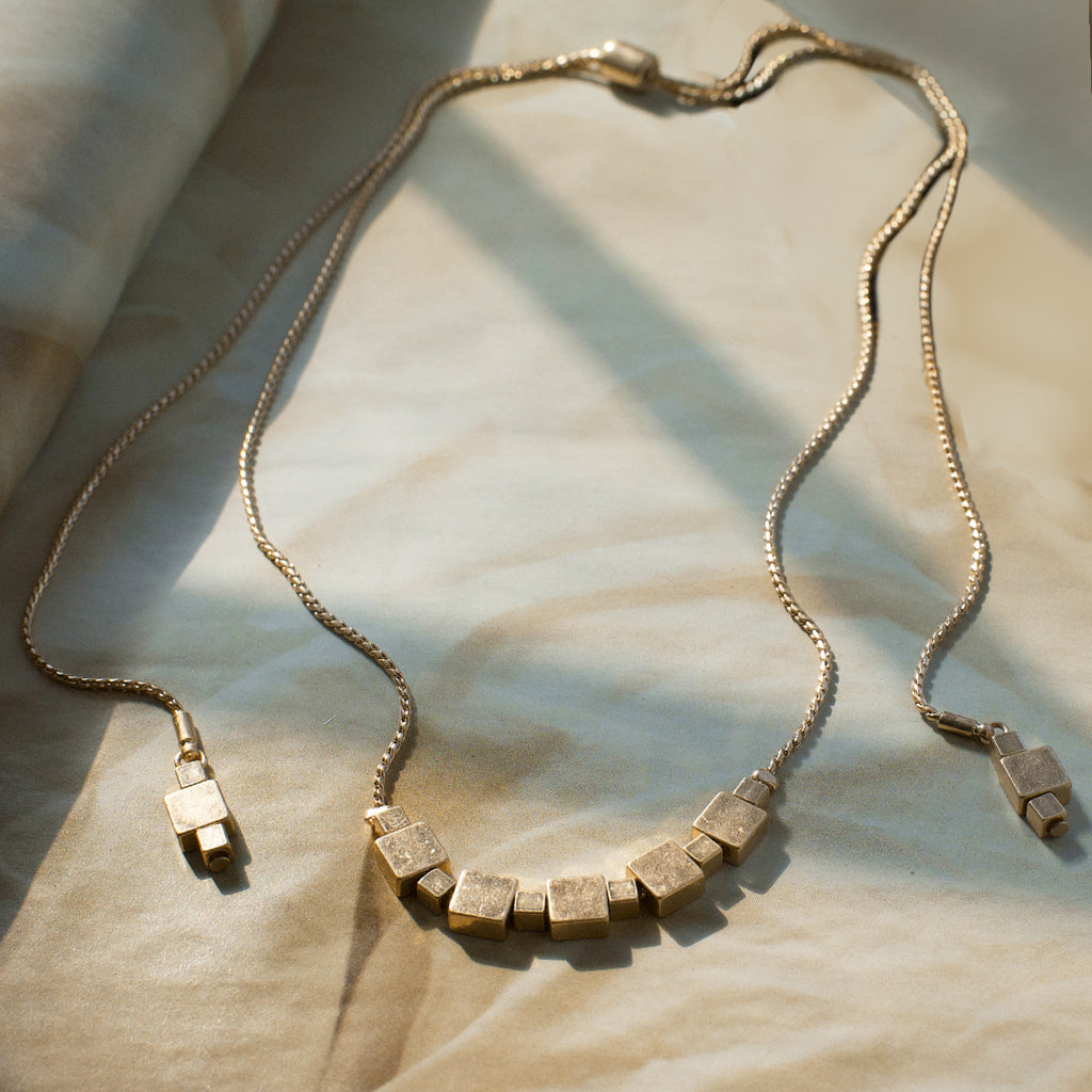 mixed metal cube necklace