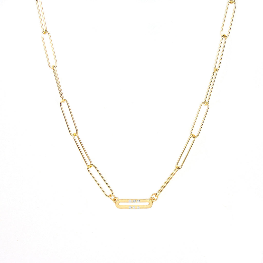 tri-pave link necklace