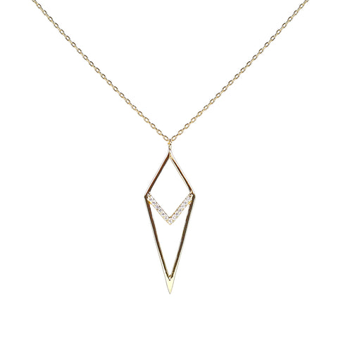 sterling diamond shape necklace